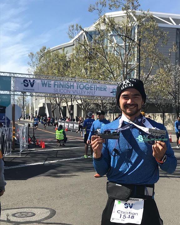 Coach Ian Cruz running the Silicon Valley Half Marathon
