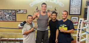 Aaron Gordon at Dreamland Boxing with Jesse Huerta, Coach Ian Cruz, and Chris Washington