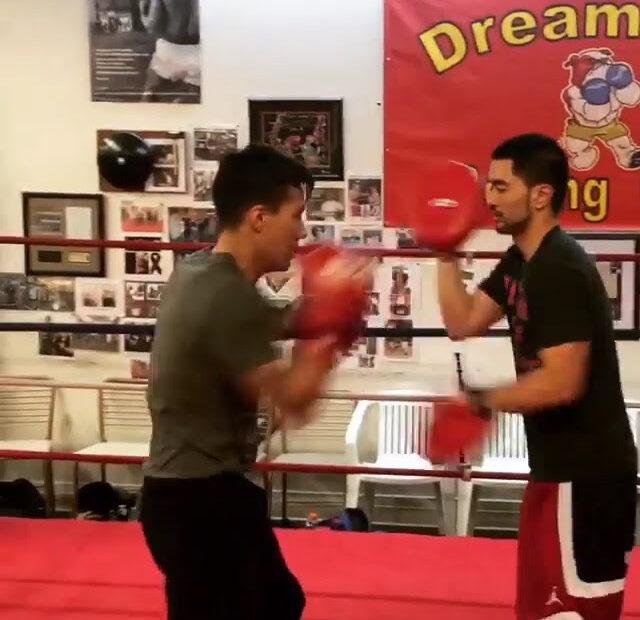 Elias and Coach Ian Cruz at Dreamland Boxing