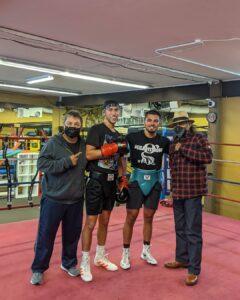 Jesse Huerta, Mark, Justin Cardona, and Ruben Guerrero at Dreamland Boxing