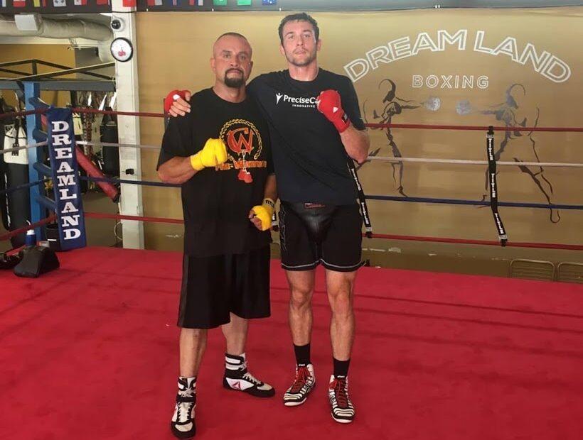 Evan Gubera (Animal House Fitness, Monkey Feet) and Armando Santana at Dreamland Boxing